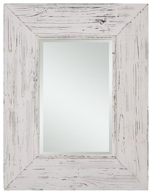 Wilkes Distressed White Rectangular Mirror Rustic Bathroom Mirrors