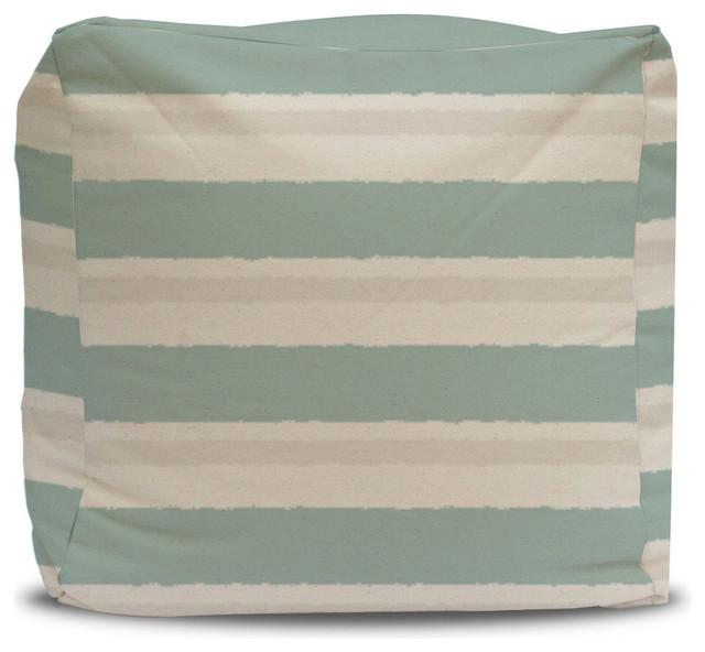 pouf and cover seafoam and gray stripe 18x18 contemporary