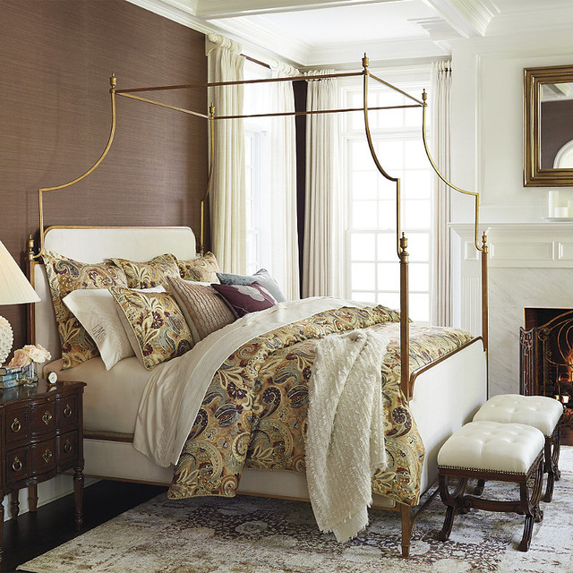 Park lane canopy bed gold queen contemporary canopy for Gold canopy bed frame