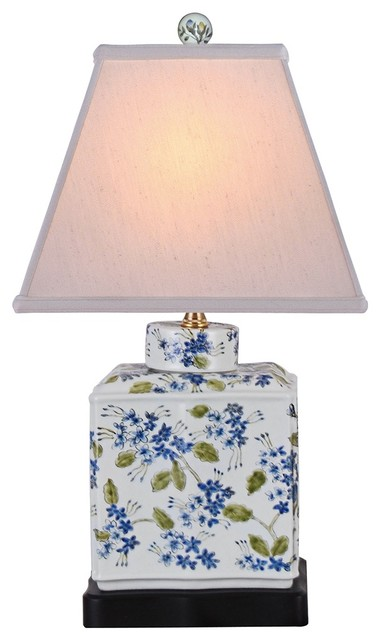 Blue And Green Rectangular Porcelain Jar Table Lamp - Asian - Table ...