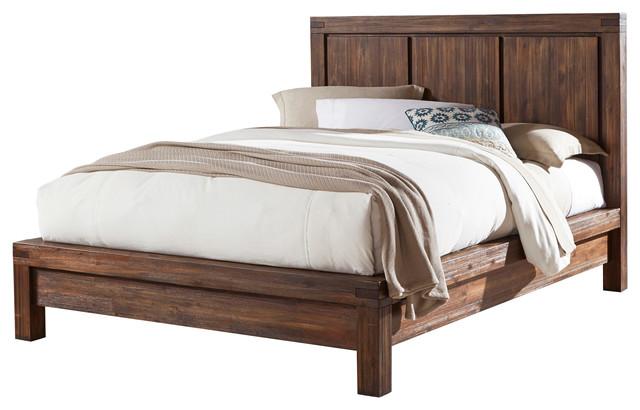 Meadow queen size solid wood platform bed brick brown for Queen size divan