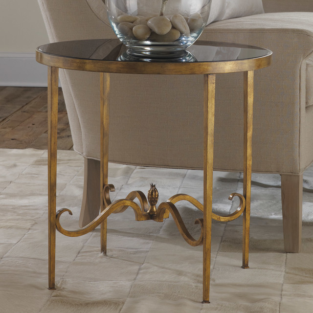 Modern History Home Wrought And Gilded Round End Table