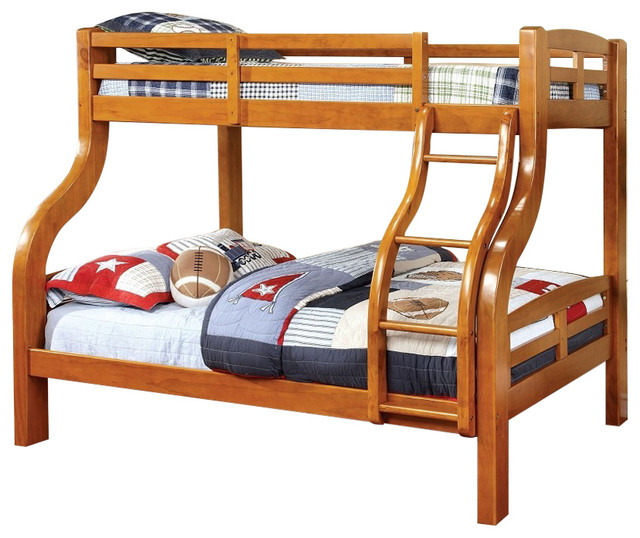 Solpine Twin Over Full Oak Finish Curved Wood Design Solid Wood Bunk Bed Bunk Beds By