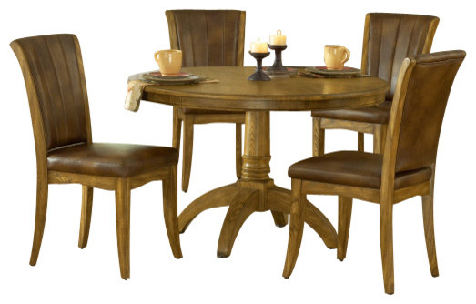Hillsdale grand bay 5 piece round dining room set for Traditional round dining room sets