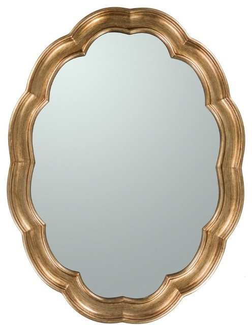 Contemporary Milburn Round Gold Mirror Contemporary Wall Mirrors