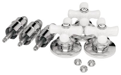 price pfister 530594 universal 3 handle tub shower rebuild kit porcelain cross h modern. Black Bedroom Furniture Sets. Home Design Ideas