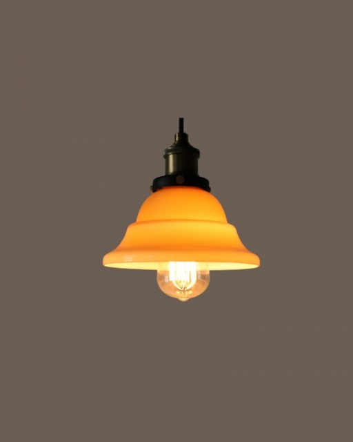 Yellow Industrial Pendant Light: Yellow Glass Bell Pendant Lights For Kitchen Lighting