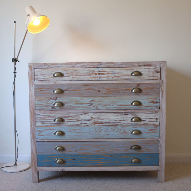 Beach hut style chest drawers reclaimed wood coastal for Beach hut style