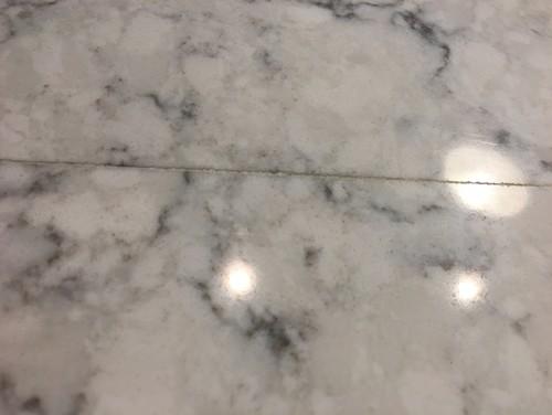 Bad quartz countertop seam for Seamless quartz countertops