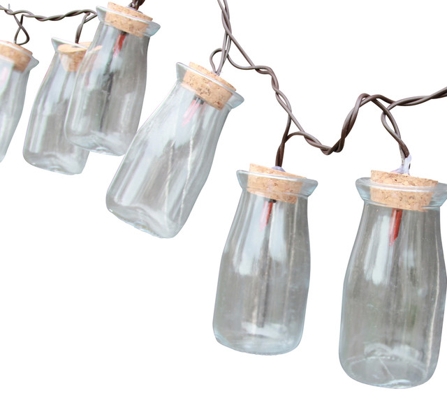 Milk Bottle String Lights, 10-Count - Farmhouse - Outdoor Rope And String Lights - by DEI
