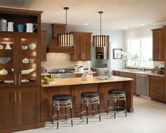 Cherry chocolate lowe s cabinets kitchen shenandoah cabinetry