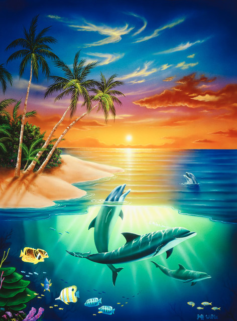 Dolphin island wall mural contemporary wallpaper by for Dolphin paradise wall mural
