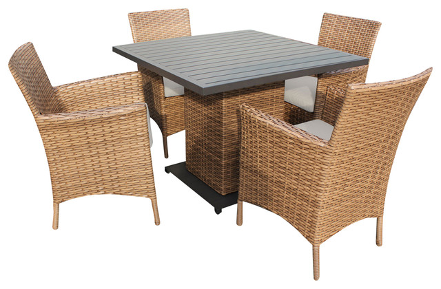 Square Outdoor Patio Dining Table With 6 Chairs Beige Outdoor Dining