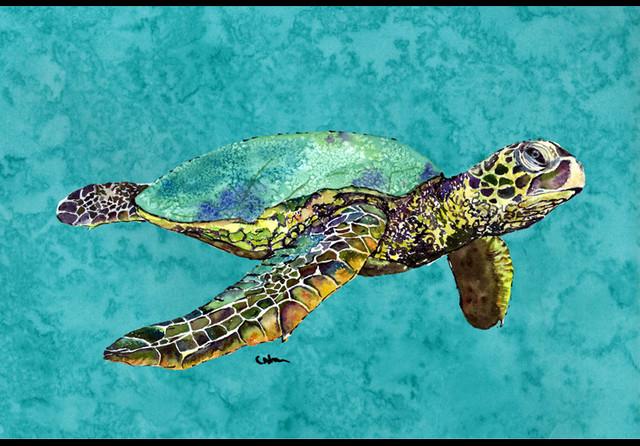 Swimming Logggerhead Turtle Indoor Outdoor Doormat