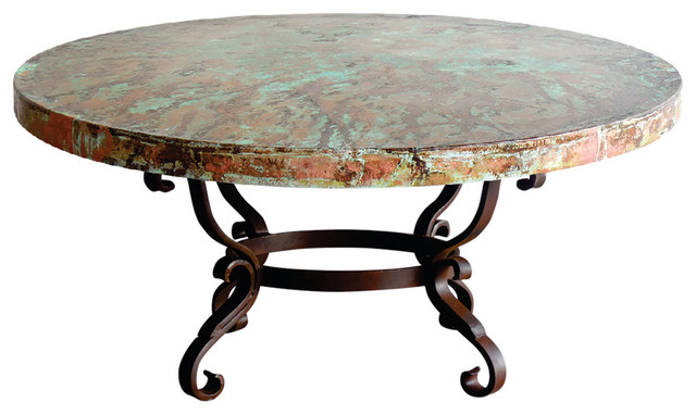 Round Iron Oxidized Hand Hammered Copper Top Coffee Table Mediterranean Coffee Tables By