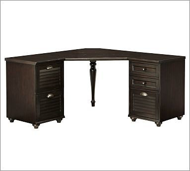 Whitney Shuttered Corner Desk Set, 1 Desktop, 1 2-Drawer File & 1 3-Drawer File - Traditional ...