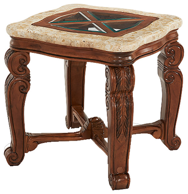 Victorian Ash Coffee Table: Tuscano Marble Top Glass Insert End Table