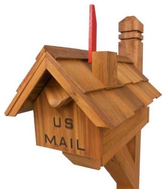 Chimney Flag Cedar Mailbox Traditional Mailboxes By