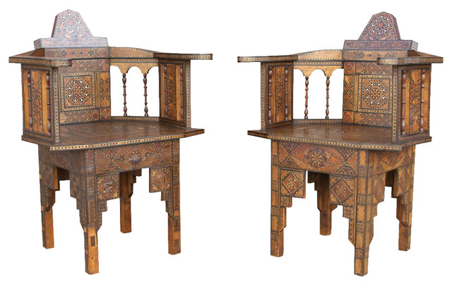 Syrian Marquetry Chairs, Pair - Contemporary - Office Chairs - by One Kings Lane
