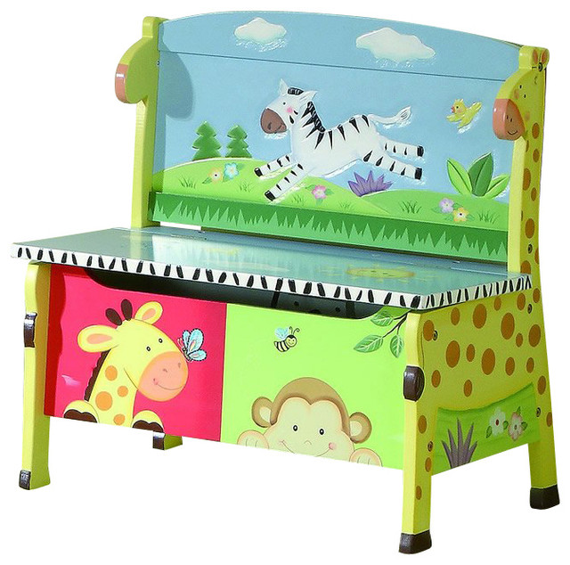 Kids Storage Bench Furniture Toy Box Bedroom Playroom: Teamson Kids Sunny Safari Hand Painted Kids Storage Bench