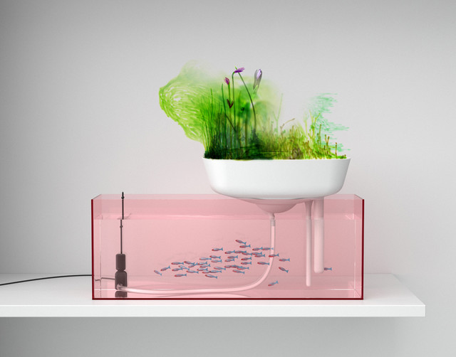 Floating garden contemporary indoor pots and planters for Floating plant pots