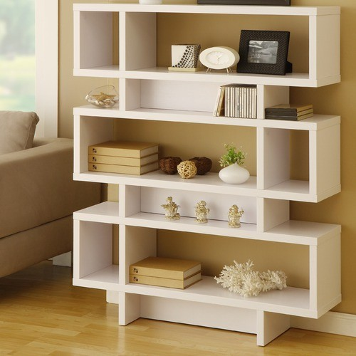 Celio Three-Tier Bookcase/Display Cabinet, Matte White