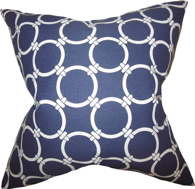 Decorative Down Pillows : Betchet Geometric Pillow, Blue, Down Feather Filler, 18