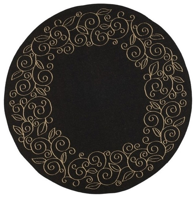 Round rug in black contemporary area rugs by shopladder for Round contemporary area rugs