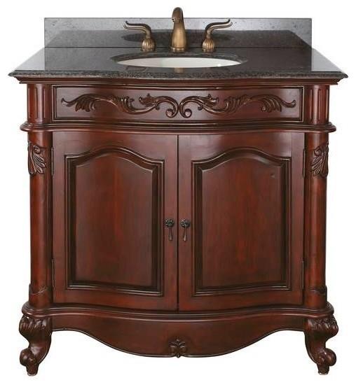 Avanity provence vanity 36 inch antique cherry victorian bathroom vanities and sink for Cherry bathroom vanity cabinets