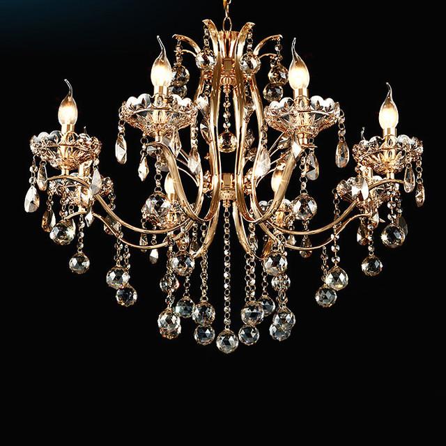 Golden Teak Crystal Chandelier In Shiny Gold 4 Sizes
