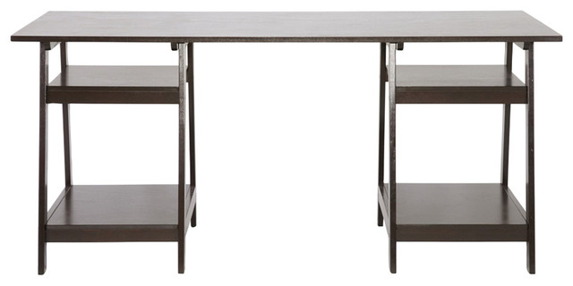 Mott Espresso Wood Desk With Sawhorse Legs Transitional Desks And