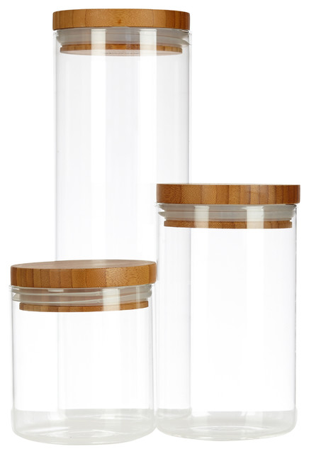 glassery airtight glass canisters with wood lids set of 3
