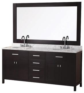 Design Element London 72 Modern Double Sink Vanity Set Espresso Mode