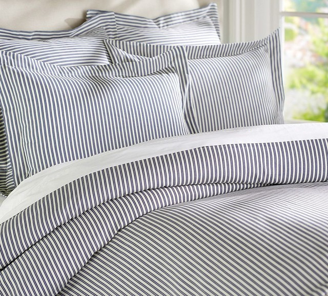 Thatcher Ticking Stripe Duvet Cover Amp Sham Navy Blue