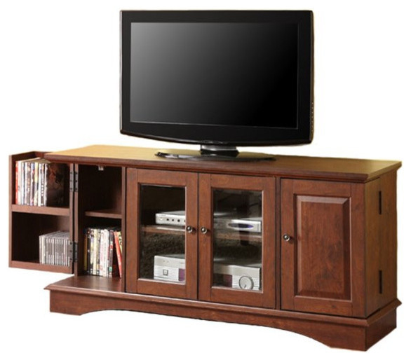 ... TV Stand With Media Storage, Brown entertainment-centers-and-tv-stands