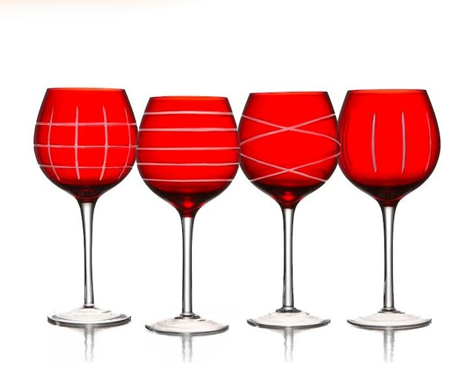 Red Medallion Stemmed Wine Goblets Modern Wine Glasses