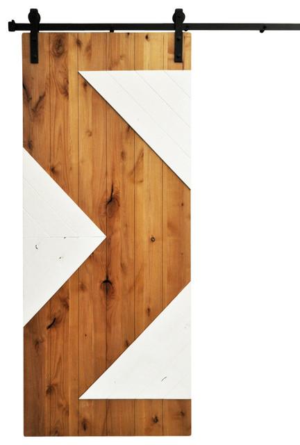 Barn door and hardware zig zag golden maple and white for 48 inch barn door