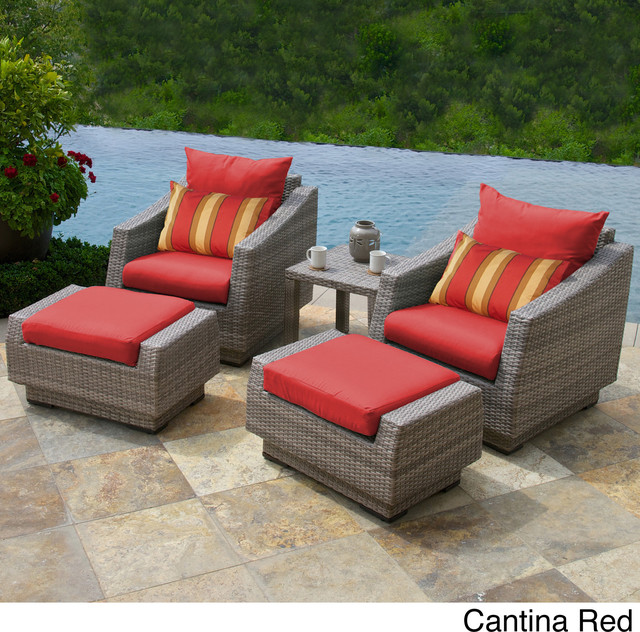 RST Brands Cannes 5 piece Club Chair Ottomans and Side Table Contemporary