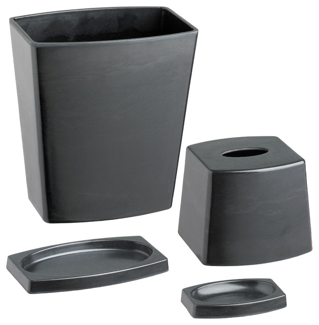 Kraftware my earth 4 piece bathroom set black modern for Black bath accessories sets