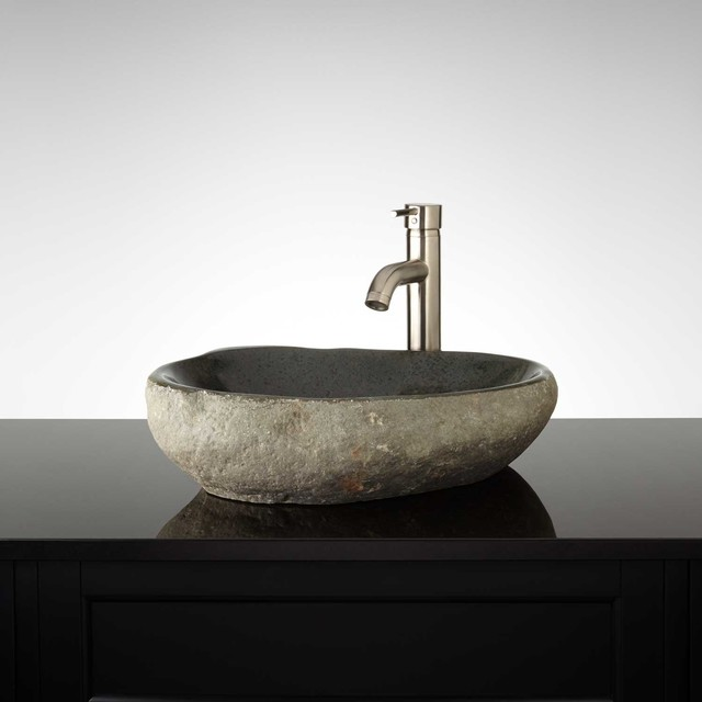 Vonleh River Stone Vessel Sink - Modern - Bathroom Sinks