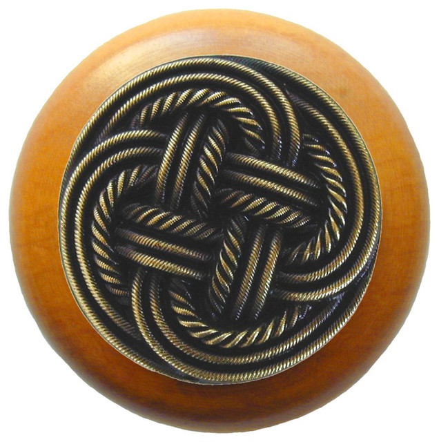 Notting Hill Classic Weave/Maple Wood Knob - Antique Brass - Traditional - Cabinet And Drawer ...