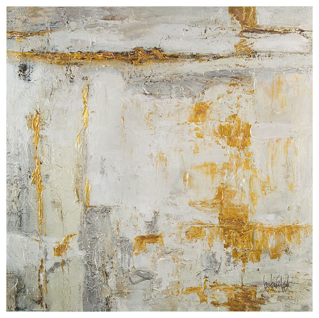 White Gold Large Original Oil Painting Transitional