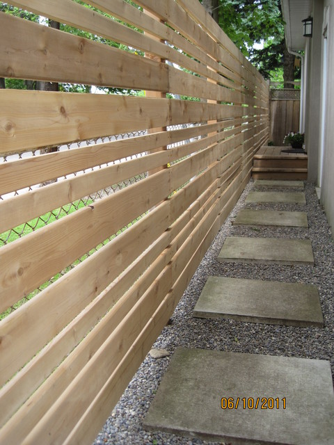 Chine Drive Horizontal Fence Side Walkway Contemporary
