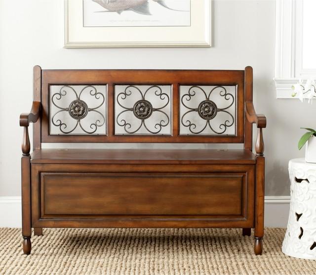 Foyer Furniture Qld : Safavieh erica dark brown storage bench contemporary