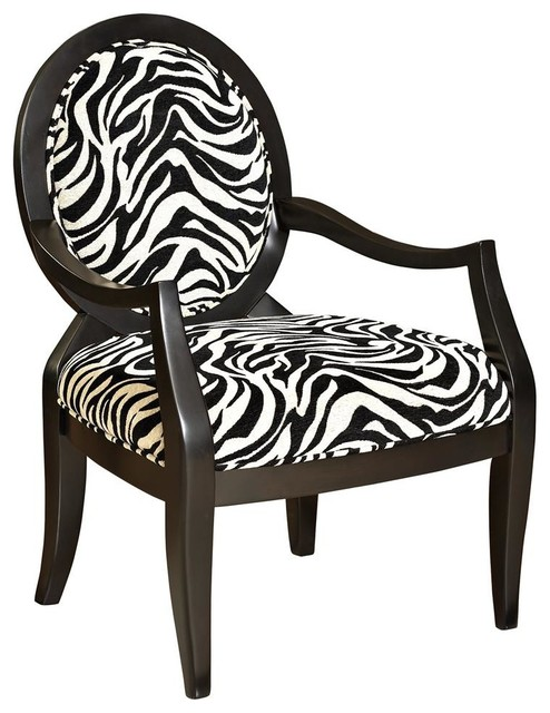 Oval Accent Chair With Zebra Print Contemporary