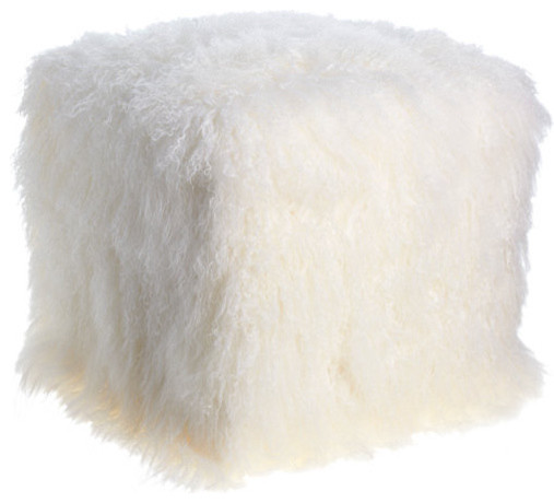 Lamb Fur Square Ottoman Contemporary Footstools And