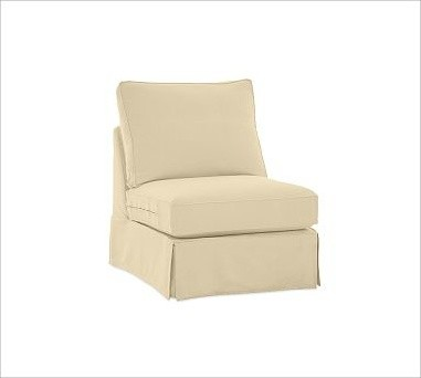 PB Comfort Roll Arm Slipcovered Armless Chair Slipcovers Organic Cotton Canv