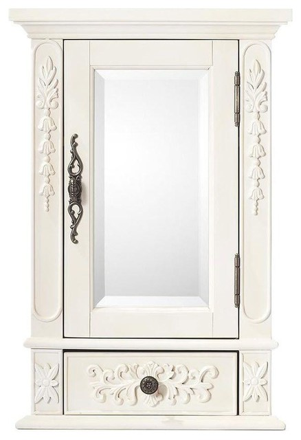 ... Mirrored Wall Cabinet in Antique White contemporary-medicine-cabinets