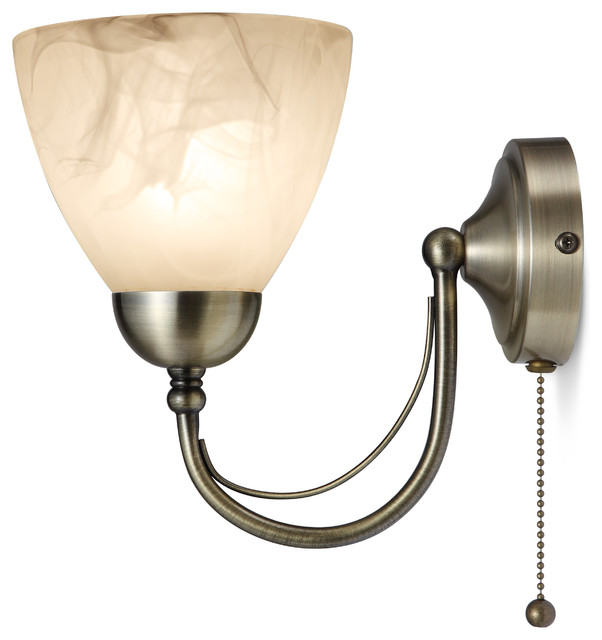 Vintage Wall Lights With Pull Cord : Barcelona 1 Light Pull Cord Wall Light - Antique Brass