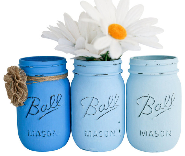Painted Mason Jars, Set of 3, Blue OmbreBeach StyleVases